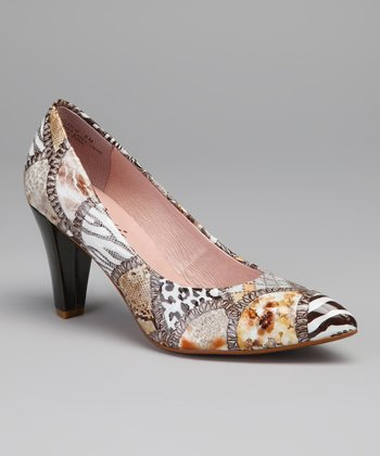Brown & White Palladium Leather Pump