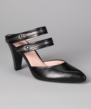 Black & Pewter Paris Leather Pump
