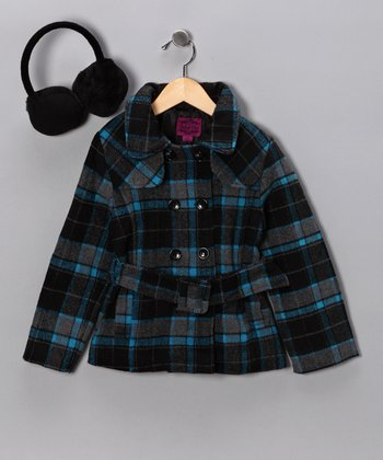 Blue Plaid Peacoat & Earmuffs - Girls