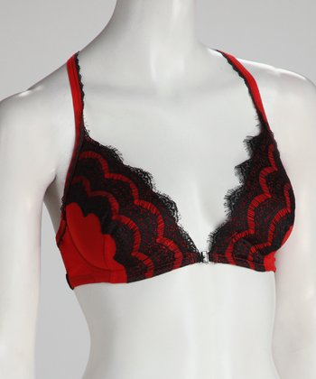 Black & Red Chanteuse Lace Front-Closure Racerback Bra - Women &