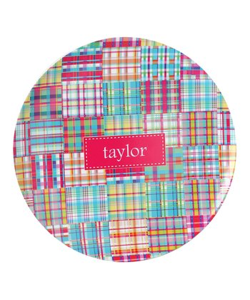 Pink Madras Personalized Plate