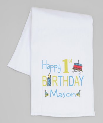 White Personalized 'Happy 1st Birthday' Burp Cloth