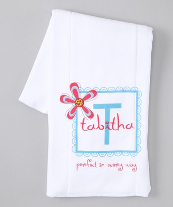 White 'Perfect in Every Way' Personalized Burp Cloth