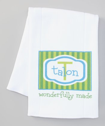 Green & Blue 'Wonderfully Made' Personalized Burp Cloth