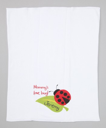 White 'Mommy's Love Bug!' Personalized Burp Cloth