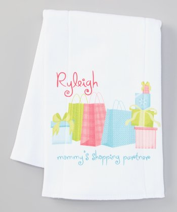 White 'Shopping Partner' Personalized Burp Cloth