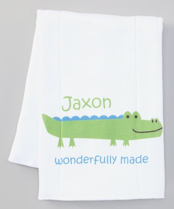 Green 'Wonderfully Made' Personalized Burp Cloth