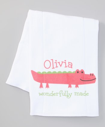 Pink 'Wonderfully Made' Personalized Burp Cloth