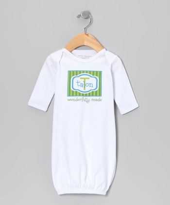 Green & Blue 'Wonderfully Made' Personalized Gown - Infant