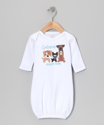 White 'Puppy Love' Personalized Gown - Infant