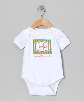Green & Pink 'Wonderfully Made' Personalized Bodysuit - Infant