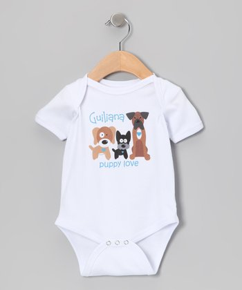 White 'Puppy Love' Personalized Bodysuit - Infant