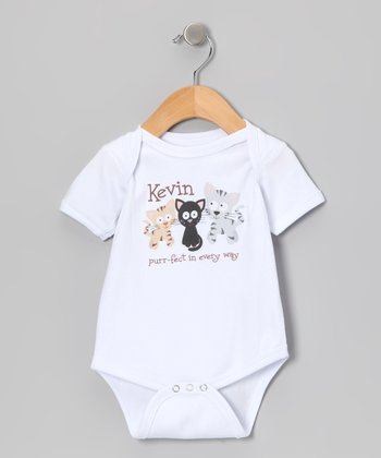 White 'Purr-Fect in Every Way' Personalized Bodysuit