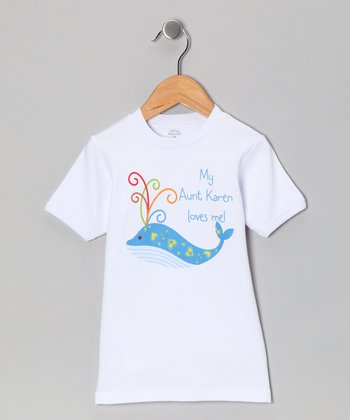 White 'Loves Me' Whale Personalized Tee - Toddler