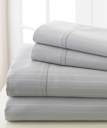 Silver Gray Stripe 700-Thread Count Sheet Set