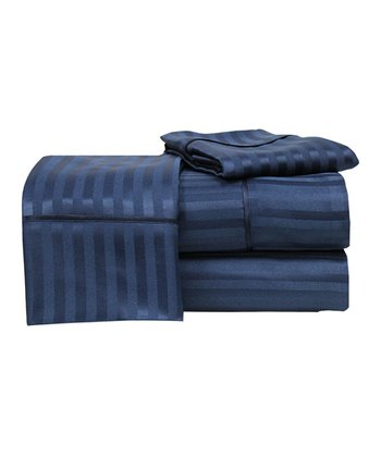 Navy Dobby Stripe Luxury Touch Sheet Set