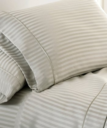Vanilla Dobby Stripe Luxury Touch Sheet Set