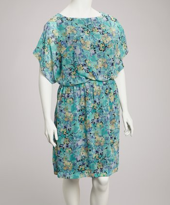 Black & Aqua Floral Blouson Dolman Dress - Plus