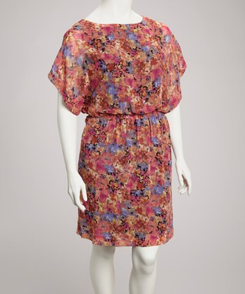 Black & Fuchsia Floral Blouson Dolman Dress - Plus