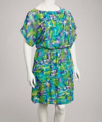 Purple & Aqua Abstract Blouson Dolman Dress - Plus