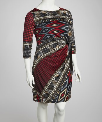 Red & Blue Houndstooth Tribal Dress - Plus
