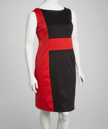 Black & Red Color Block Sheath Dress - Plus