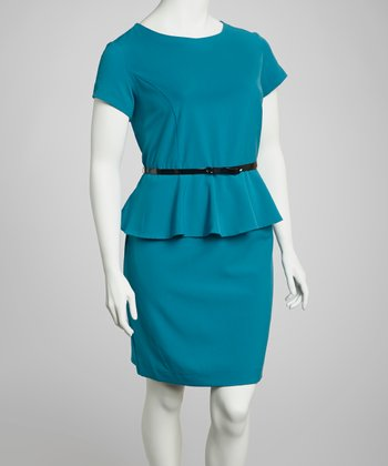 Teal Belted Peplum Dress - Plus