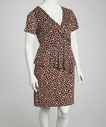 Brown Polka Dot Surplice Peplum Dress - Plus
