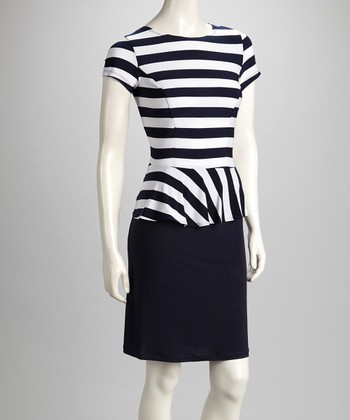 Navy & White Stripe Peplum Dress