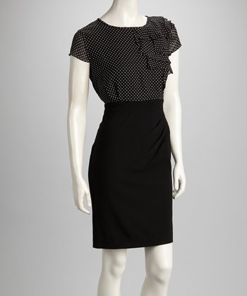 Black & Ivory Polka Dot Ruffle Dress