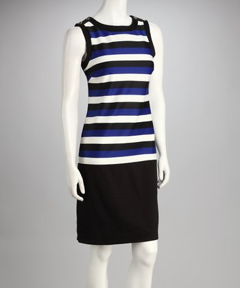 Black & Cobalt Stripe Dress