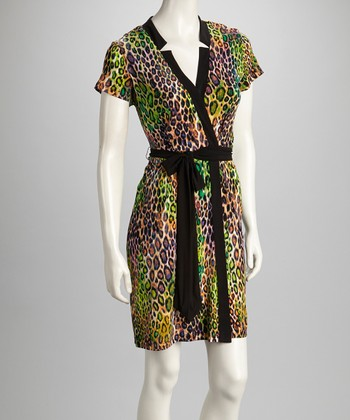 Green & Purple Leopard Tie-Waist Dress