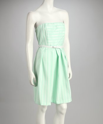 Mint Belted Strapless Dress