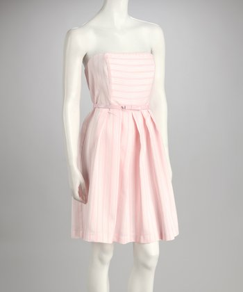 Pink Belted Strapless Dress