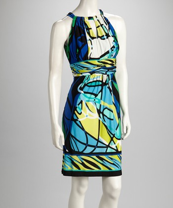 Blue & Green Abstract Keyhole Dress