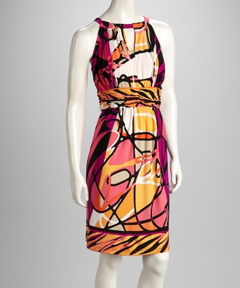 Pink & Black Abstract Keyhole Dress