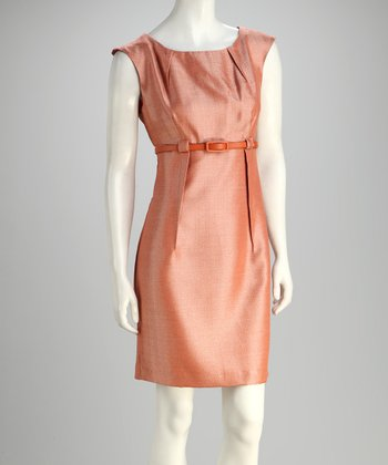Tan Belted Cap-Sleeve Dress