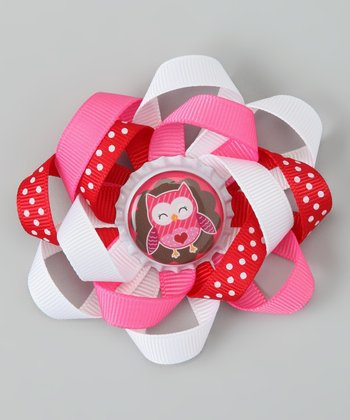 Pink & Red Polka Dot Owl Bow Clip