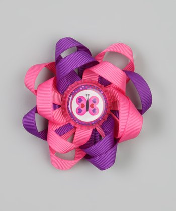 Hot Pink & Purple Butterfly Clip