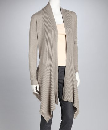 Beige Long-Sleeve Open Cardigan
