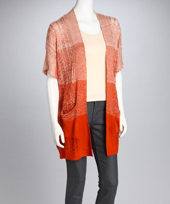 Orange Ombré Open Cardigan