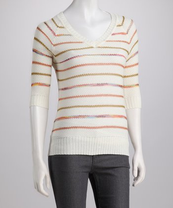 Beige Stripe Three-Quarter Sleeve Sweater