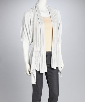 White Shiny Open Cardigan