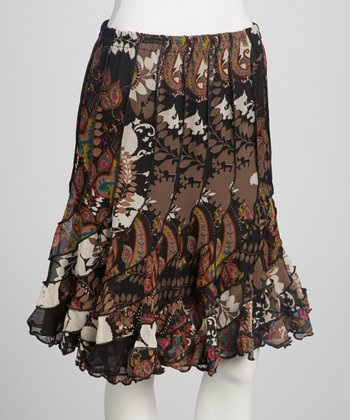 Black Paisley Frill Skirt - Women
