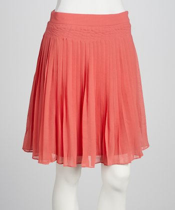 Coral Pleated Skirt - Women
