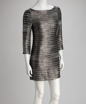 Bronze & Black Sparkle Boatneck Dress
