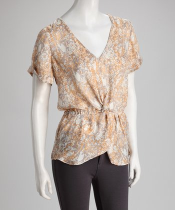 Orange & Beige Snake Print Twisted V-Neck Top