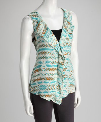 Aqua Tribal Feathers Ruffle Sleeveless Top