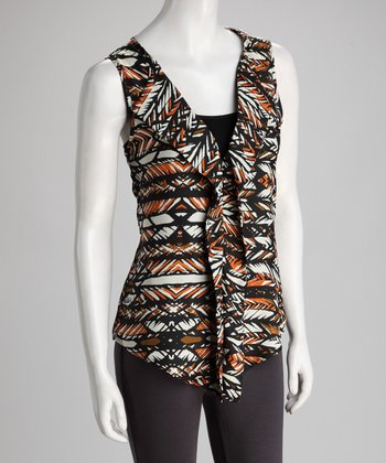 Black & Orange Tribal Feathers Ruffle Sleeveless Top