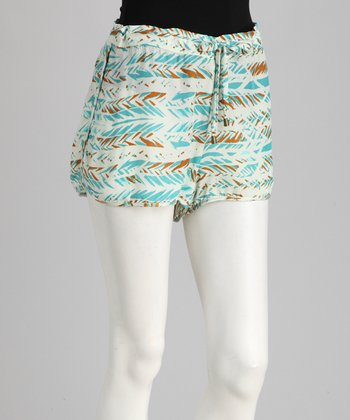 Aqua Tribal Feather Drawstring Shorts